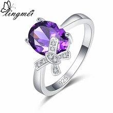 lingmei New Arrival Tie Design Oval Purple & Multicolor White CZ Silver Color Ring Size 6 7 8 9 Anniversary Party Women Jewelry