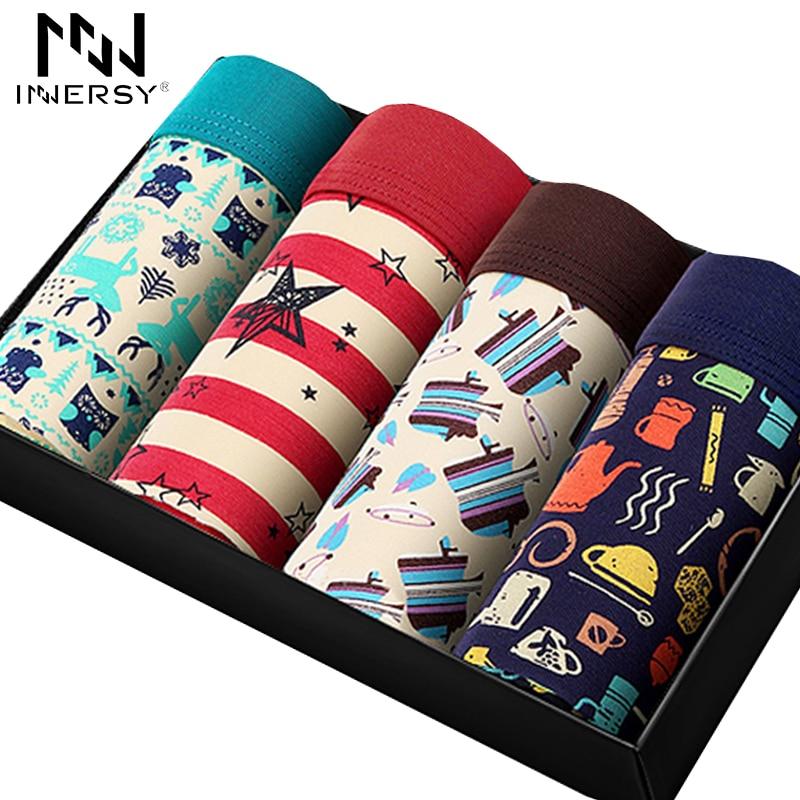 Innersy 2016 Panties Mens 4Pcslot Underwear Soft Boxers Modal Boxer Men Printed Boxer Short Plus Size Boxers Mens Underwear Lot