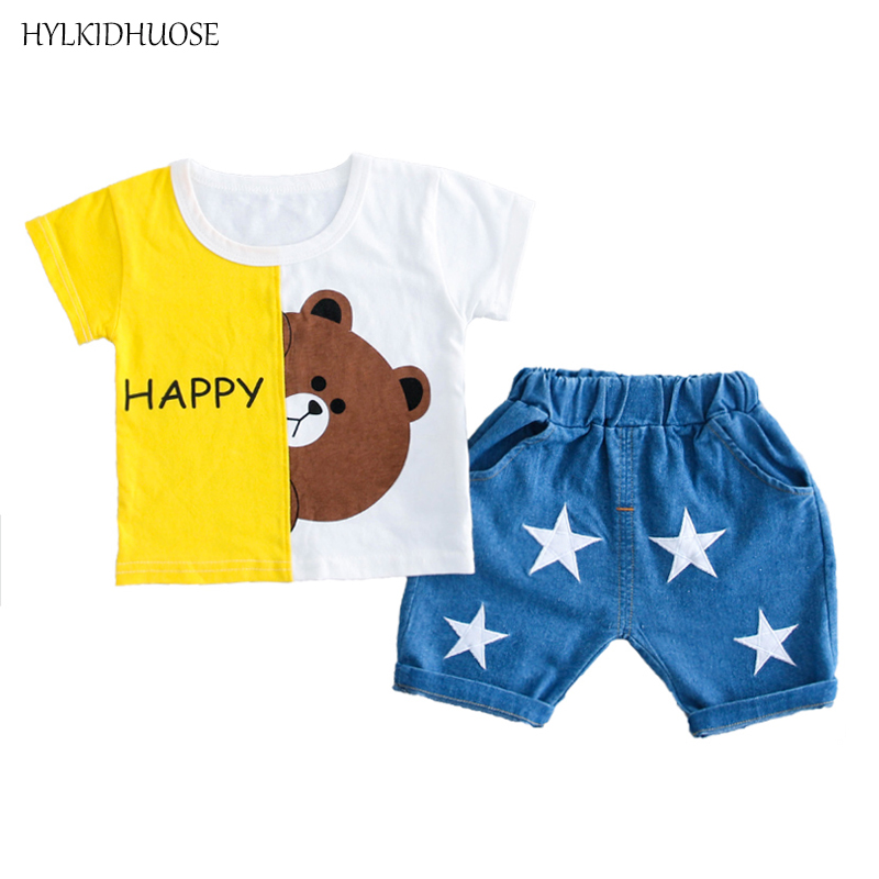 HYLKIDHUOSE Summer Baby Girls Boys Clothing Sets Brother Sister Clothes Bear Cotton Infant T Shirt Shorts Child Kids Clothes newborn infant kid girl clothes summer cotton big sister t shirt skirt little sister bodysuit shorts 2pcsset baby clothes outfit