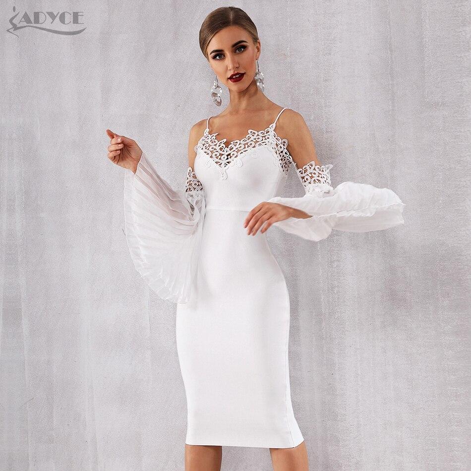 Adyce 2019 nouveau automne femmes Bandage robe Sexy Flare manches blanc dentelle robe d'été élégante célébrité soirée robe de soirée - 3