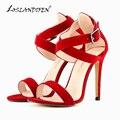 LOSLANDIFEN Frete Grátis Senhoras Falso Casamento de Veludo Sapatos De Salto Alto Sapatos Peep Toe Sexy Sandálias EUA das mulheres bombeia o Tamanho 4-11 102-4VE