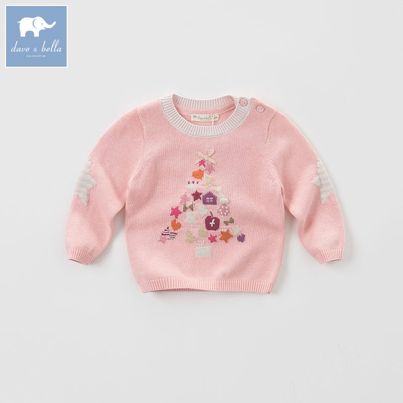 DB5534 dave bella autumn infant baby girls wool pullover tops kids lolita clothes children toddler knitted Sweater timex t2n598