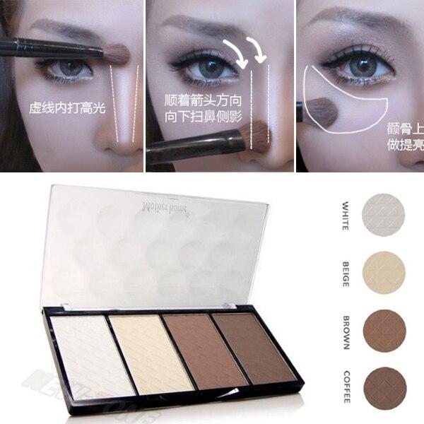 Neue Professionelle 4 Farben Concealer bronze Camouflage Neutral Palette Primer Kontur Gesichts Schatten Textmarker V Gesicht