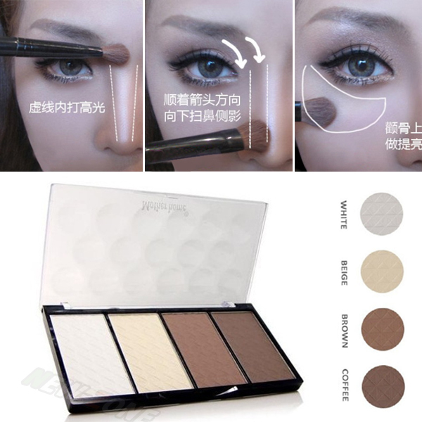 New Professional 4 Colors Concealer bronze Camouflage Makeup Neutral Palette Primer Contour Facial Shadow Highlighter V Face