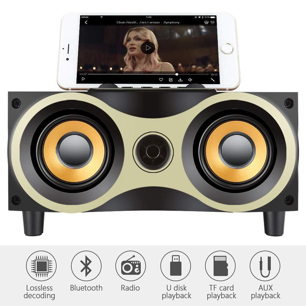 Desktop Portable Wooden Wireless Speaker Subwoofer Stero Bluetooth Speakers Support TF MP3 Player with FM Radio, Phone HolderDesktop Portable Wooden Wireless Speaker Subwoofer Stero Bluetooth Speakers Support TF MP3 Player with FM Radio, Phone Holder