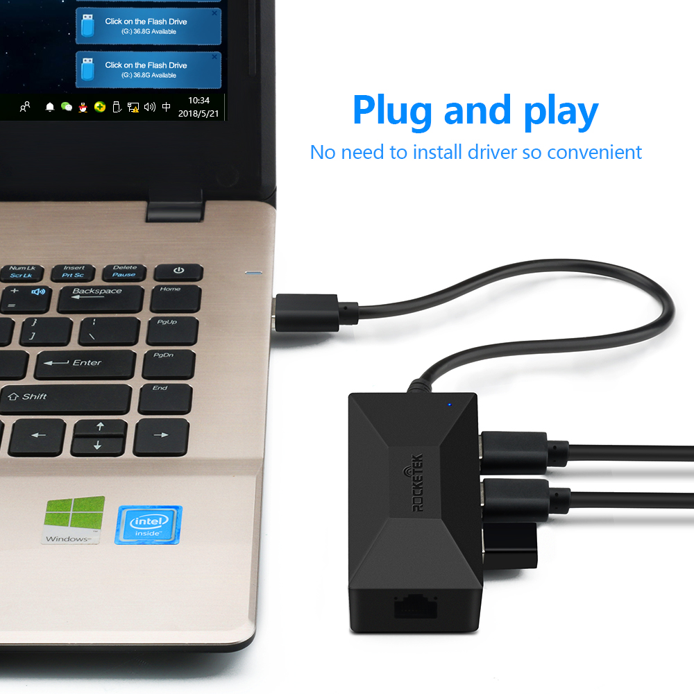 Hot Deal #e3ca - Rocketek USB 3.0 To Rj45 Hub Gigabit Ethernet Adapter  1000Mbps For Xiaomi Mi Box 3/S 4 4c Se Android TV Set-top Network Card Lan