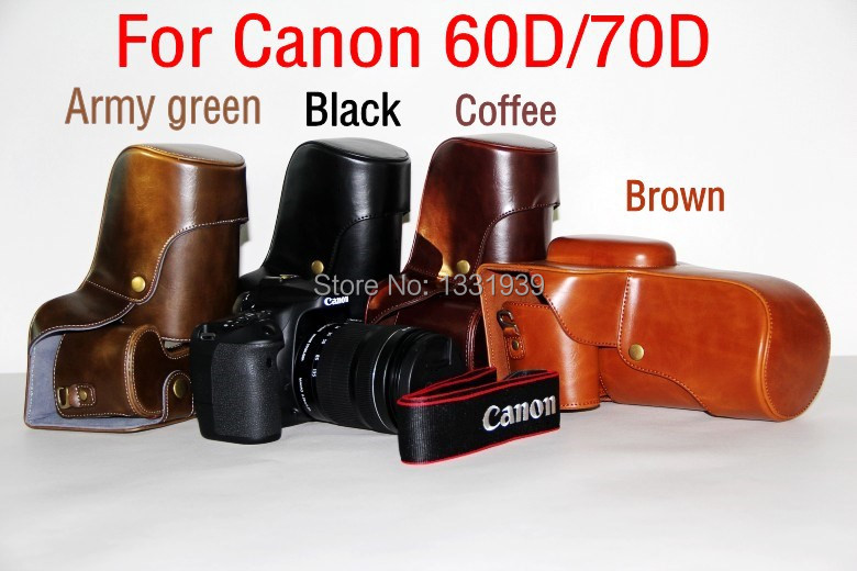 Free shipping New PU Leather Camera Bag Case Cover Without Shoulder Strap For Canon 60D 70D