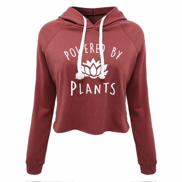 64729ce6 US $20.37 40% OFF|Funny Vegan Hooded Crop Tops Power by plants Women's  Maroon Pullover Sweatshirt Women T Shirt 2017 Summer Fashion Girl's Tops-in  ...