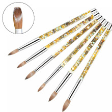 Newest 1pc Kolinsky Sable Acrylic Nail Brush with Liquid Flow Glitter Nail Art Brush for Nail Art Tools 8# 10# 12# 14# 16#18# wholesale 5pcs 100% kolinsky sable 16 pen red wood acrylic brush for nail art nail art manicure tool acrylic nail brushes