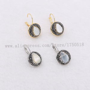 Image 5 - Natural pearl earrings natural shell pearl earrings round beads druzy earrings wholesale  jewelry gem jewelry for women 1083