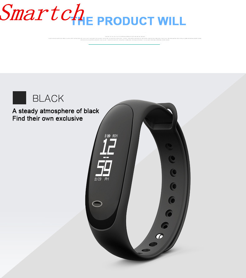 Smartch E26 Bluetooth Smart Band Heart Rate Monitor Blood Pressure Monitor Podemeter Sleep Step Alarm IP67