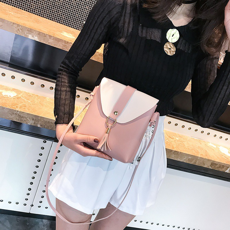 Women Fashion Tassel Hit Color Female Shoulder Bag SummerSmall Fresh Square Shoulder Crossbody Bags 2019 New Arrival
