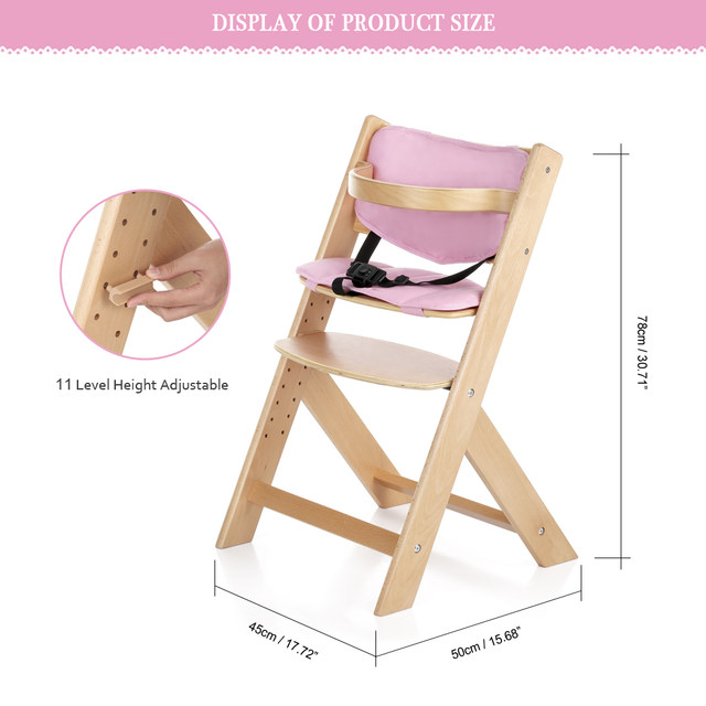 iKayaa Toddler Baby Wooden High Chair with Cushion Height Adjustable Beech Wood Highchairs for Kids Infant Feeding Dining Chair  sc 1 st  AliExpress & Online Shop iKayaa Toddler Baby Wooden High Chair with Cushion ...