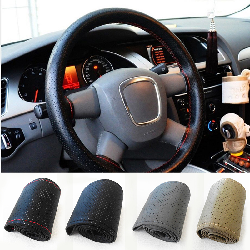 New 36cm Car Truck Braid Leather DIY Steering Wheel Cover with Hole Thread