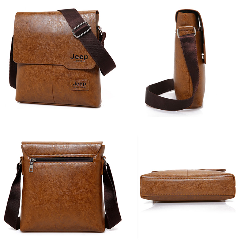 JEEP BULUO Men Messenger Bags 2 Set Famous Brand Pu Leather Crossbody Shoulder Bag For Man Business Tote Bags Hot Sale Fashion