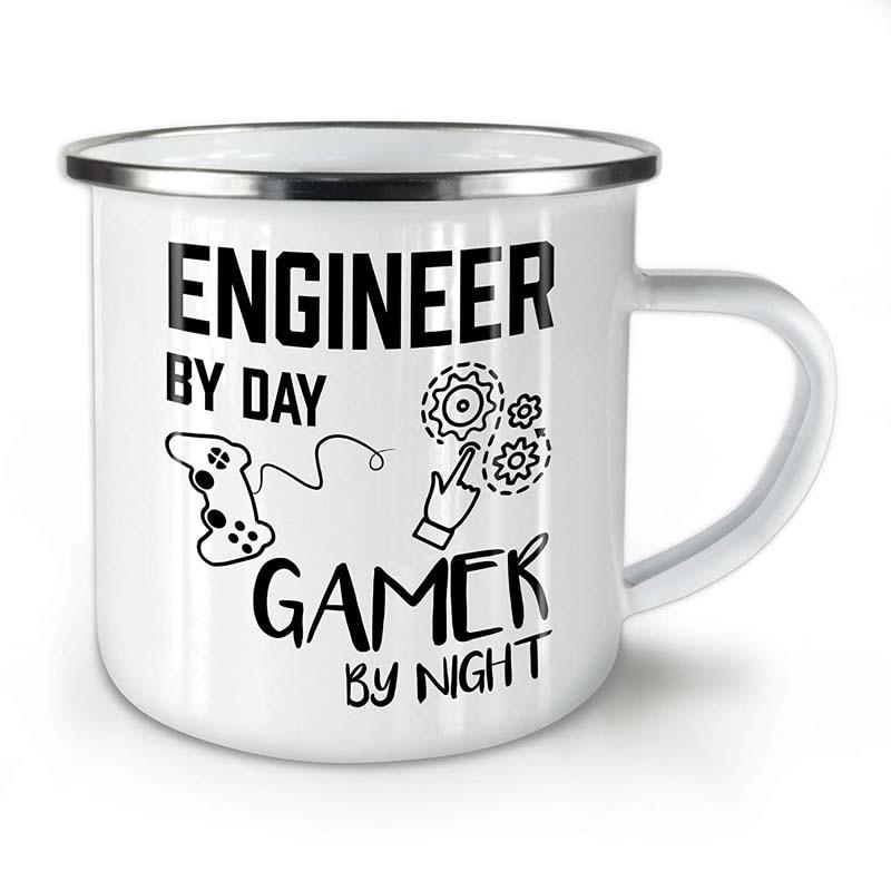 Stainless Steel Camping Coffee Mug Engineer Gamer Life Enamel Birthday Christmas Outdoors Metal Enamel Campfire Cup