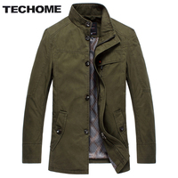 TECHOME New Fashion Design Autumn Men Trench Coat Solid Color Men Trench Coat Casual Style Mens Short brand clothing Trench Coat