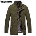 TECHOME Novo Design de Moda Outono Dos Homens Trincheira Casaco Trench Coat Dos Homens de Cor Sólida Estilo Casual Mens Curto marca-roupas trench Coat