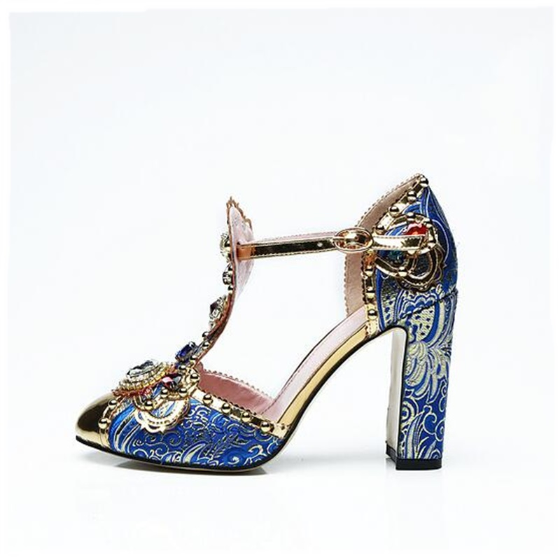 Jewerly t-strap blue ethnic shoes sexy round toe square heel buckle strap pumps woman rhinestone spring party dress pumps 2018 цена 2017