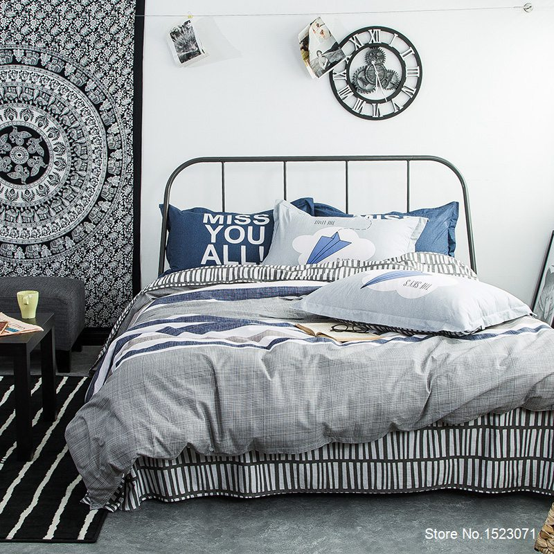 Blue and gray striped and plaid bed linen sheet Cotton fabric duvet cover bedding set bedspread