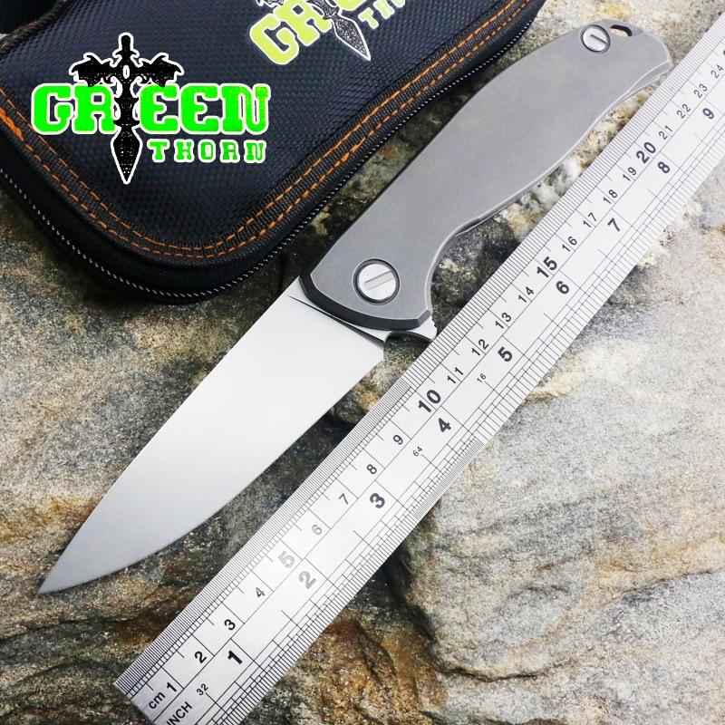 Green thorn F95 folding knife D2 blade TC4 titanium handle planar outdoor camping hunting bag toolGreen thorn F95 folding knife D2 blade TC4 titanium handle planar outdoor camping hunting bag tool