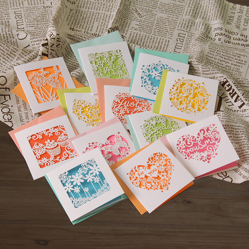 small greeting cards n enveloeps,birthday/valentine/business/friendship paper laser cut  ...