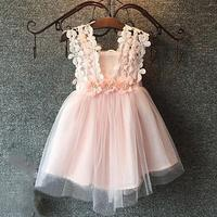 Hot! Lace Flower Dress Princess Girls Dresses Summer 2017 For 3-8 Baby Girls Dress Clothes Children Baby Boutique Clothing