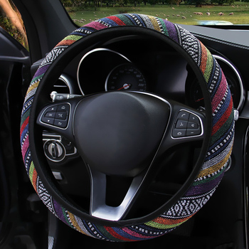 FORAUTO Elastic Car Steering Wheel Cover Ethnic Style Car Steering-wheel Covers Auto Decoration Car Accessories Linen Universal