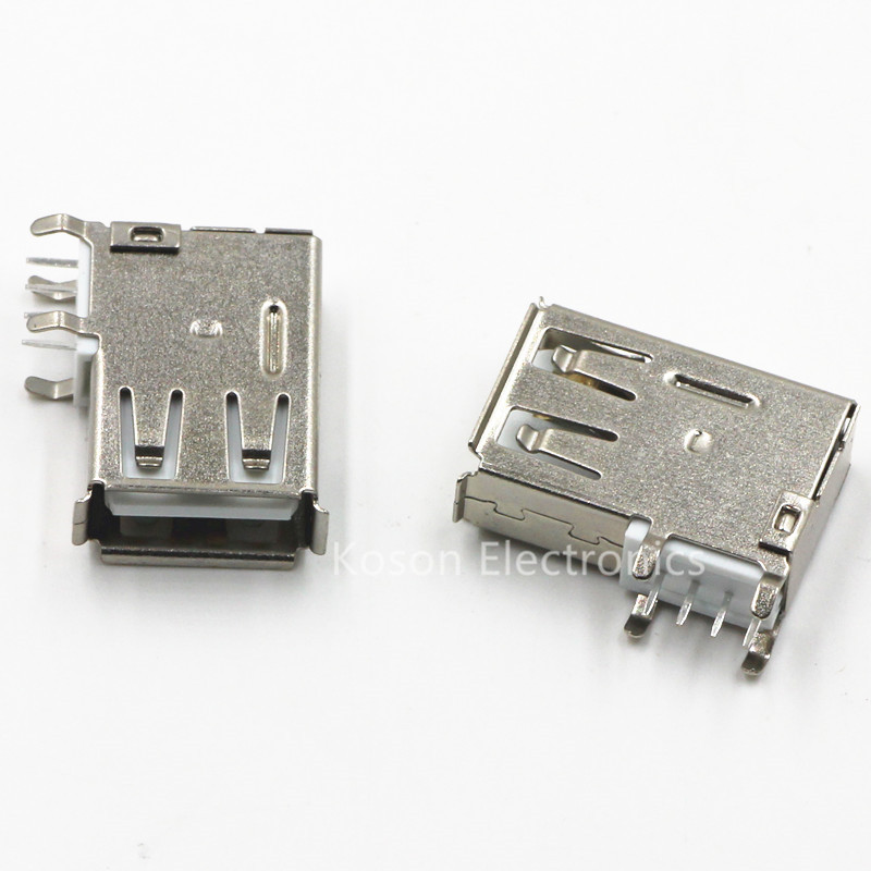 10pcs USB Type-A Female PCB Mount Socket Connector High Quality Vertical Usb A Female Socket Jack Connector 90 Degree