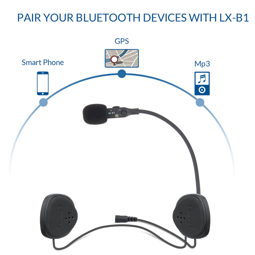 LEXIN 2019 New Arrival LX-B1 Bluetooth Helmet Headsets With Waterproof And Loud Volumn For Motorcycle/Snowmobile/Snowboard
