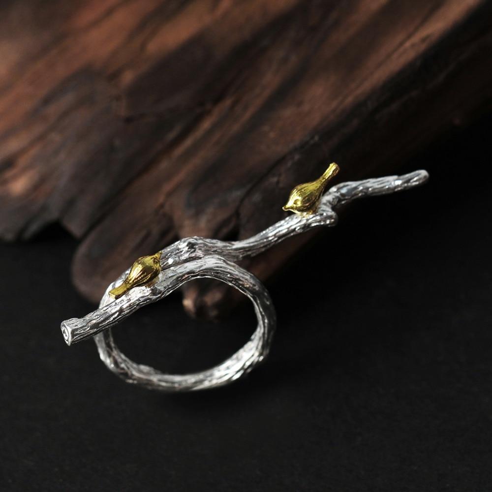 Lotus Fun 925 Silver Ringar för kvinnor Bird Animal Branch Ring - Fina smycken - Foto 2