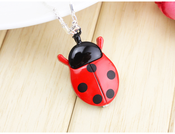 Fashion Brand Colorful Ladybug Necklace Pocket Quartz Watch Pendant Child Boy Gi