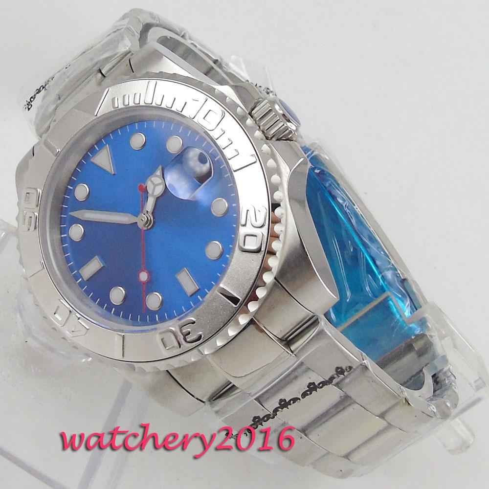 NEW 40mm PARNIS Blue Sterile Dial Sapphire Glass Luminous Hands Rotating Bezel Date no logo Automatic Mechanical men's Watch цена