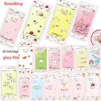 3D Relief Cute Cartoon Soft Side Tempered Glass Film For Iphone 6 6s Plus 6plus 7plus