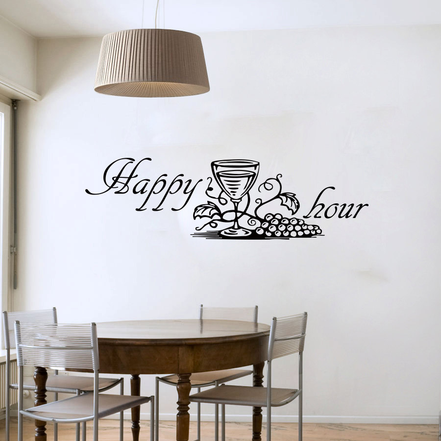 Happy Hour Grape Wine Glass Wall Decals Modern Fashion Home Decor Diy Removable Wall Sticker