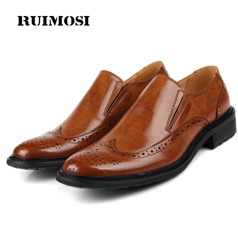 RUIMOSI Vintage Platform Man Formal Dress Shoes Genuine Leather Cow Brogue Loafers Round Toe Slip on Men's Wing Tip Flats FG87