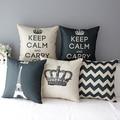 Retro Home Decorative Linen Cotton Blended Cushion Cover Crown Throw Pillow Case