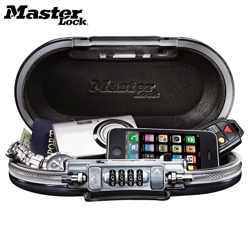 Master Lock Portable Safe Box Password Lock Mini Safes Jewelry Cash Card Phone Storage Boxes Security Strongbox Wire Rope Fixed master lock safe space