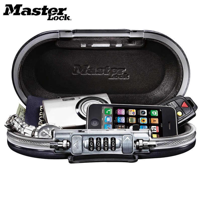 Master Lock Portabel Aman Kotak Password Lock Mini Brankas Perhiasan Arus Kartu Ponsel Penyimpanan Kotak Keamanan Lemari Tali Kawat Tetap