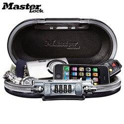 Master Lock caja de seguridad portátil con contraseña de bloqueo Mini cajas de seguridad joyas efectivo tarjeta teléfono cajas de almacenamiento seguridad Strongbox cable cuerda fija