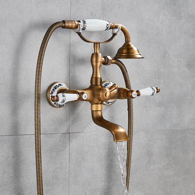 Antique Brass Golden Bathtub Shower Faucets Set Dual Knobs Mixer Tap Wall Mounted Bath Shower Set Swivel Tub Spout Bath Shower