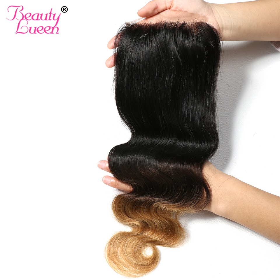 Ombre Brazilian Body Wave Lace Closure Free Part 4x4  Swiss Lace 1b/4/27 Human Hair With Sightly Baby Hair NonRemy 1 Bundle