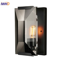 IWHD K9 Crystal Modern LED Wall Lamp Simple Luxury LED Wall Lights American Wall Sconses Fixtures For Home Lighting Luminaire