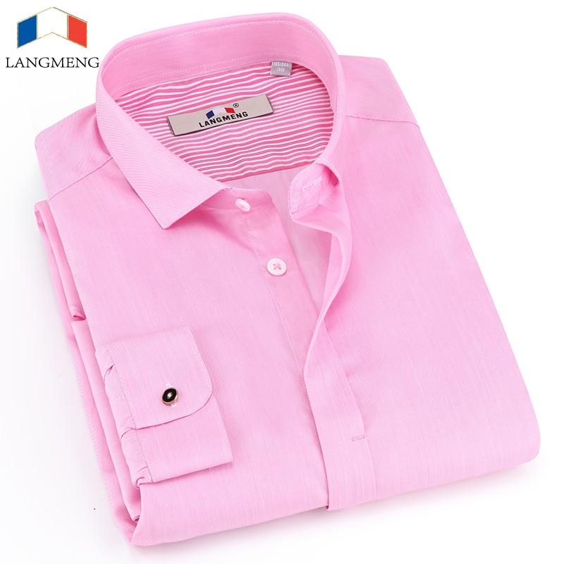 Langmeng clearance 2017 pure cotton men dress shirt long for Mens dress shirts outlet