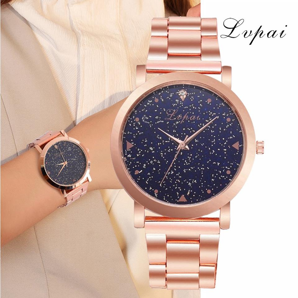 Women Dress Watches Rose Gold Stainless Steel  Ladies Wristwatch Quartz Clock Watches