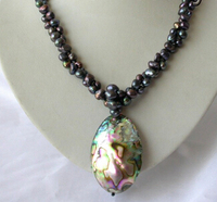 Jewelr 004770 2strands baroque black pearl necklace abalone shell pendant