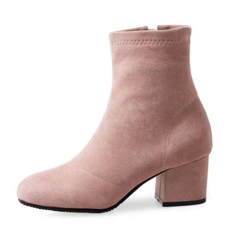 RizaBina 4 Renk Kadın yarım çizmeler Yüksek Topuklu Kış Ayakkabı Kadın Muhtasar Fermuar Yuvarlak Ayak Ayakkabı Moda Ayakkabı Boyutu 33- 43