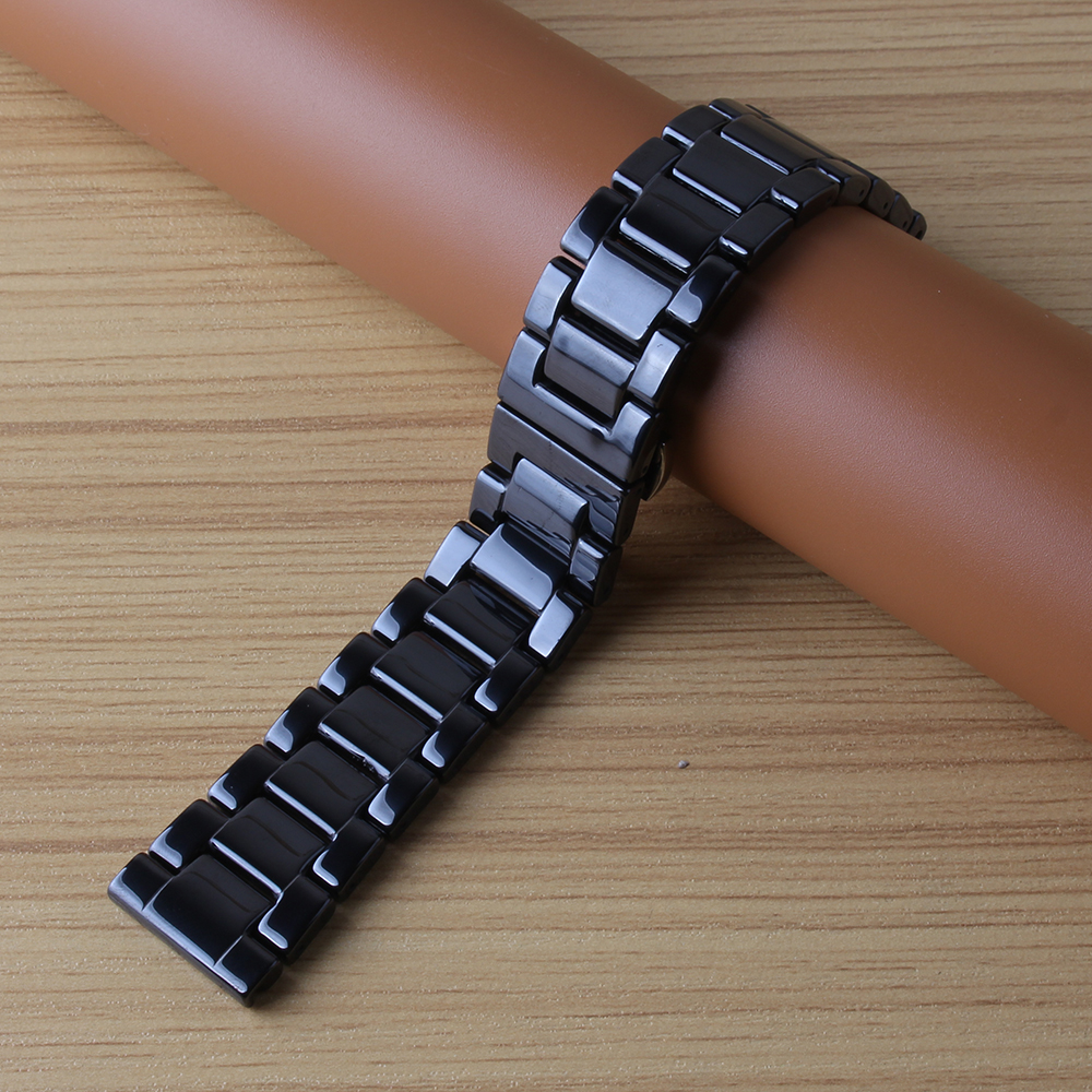 Replacement Watchband ceramic Polished watchbands for smart watches wrist band Fit Gear S3 frontier watch strap bracelet new hot watchbands 20mm 23mm high quality rubber watchband diamond watch fit ar5890 ar5905 ar5919 ar5920 watches bracelet