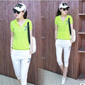 New 2017  Women Summer Loose With A Hood Fashionable Casual Short-sleeve Capris  Twinset