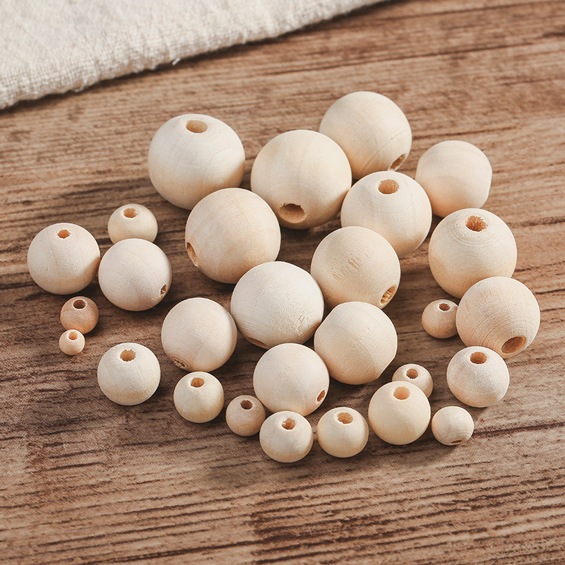 50 x 18mm Unpainted Round Wood Beads DIY Baby Teether Toys Assortments
